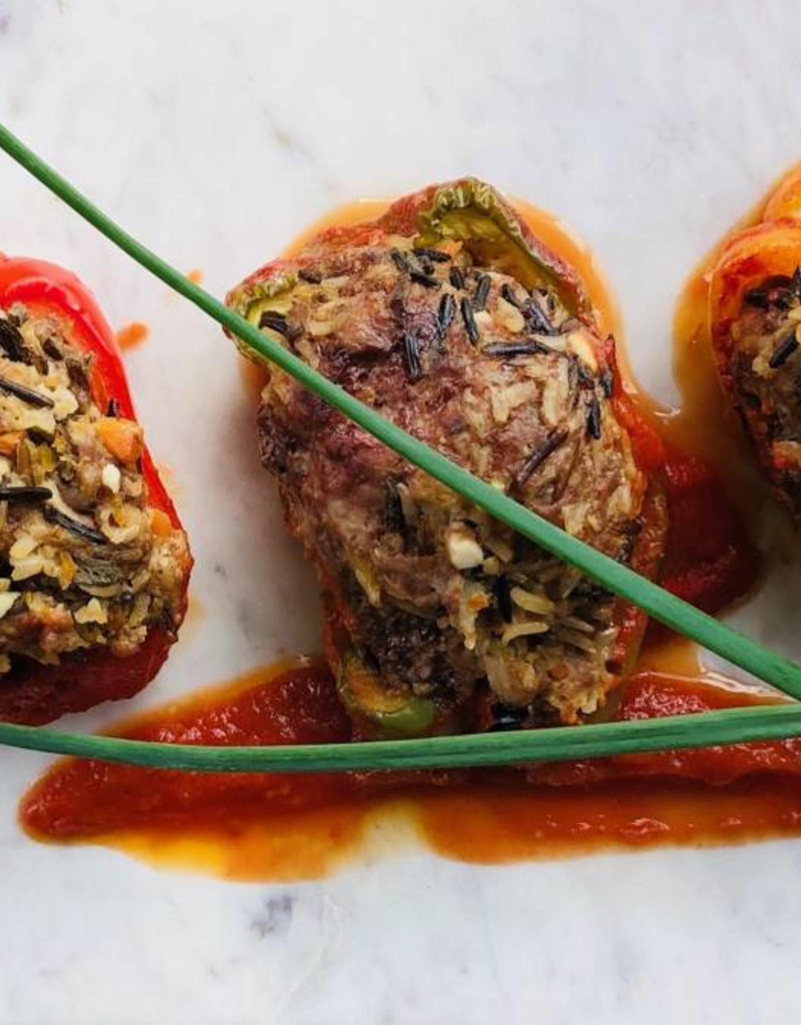 Poivrons farcis (bœuf, porc, veau et riz sauvage)