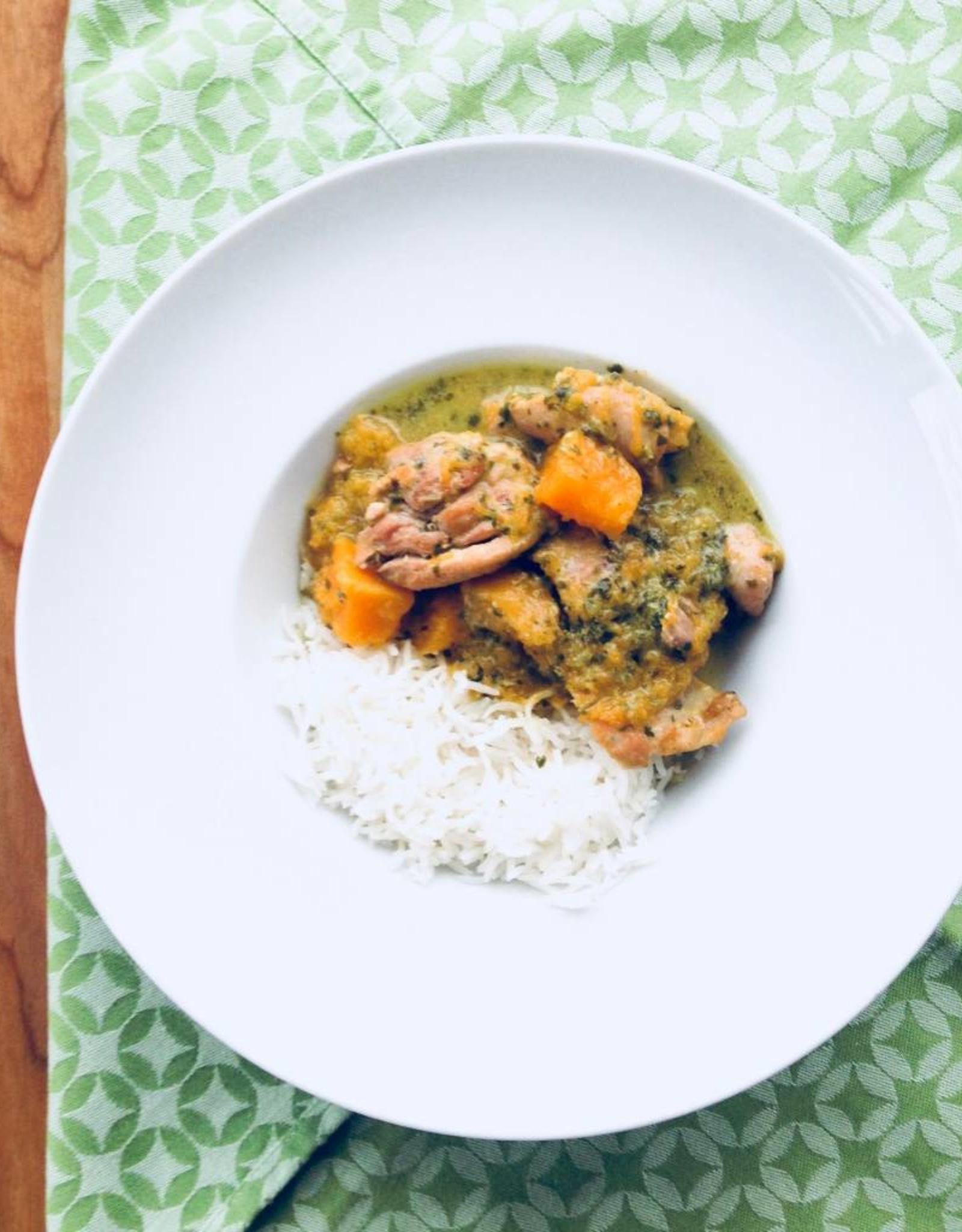 Curry vert thaï au poulet et à la courge