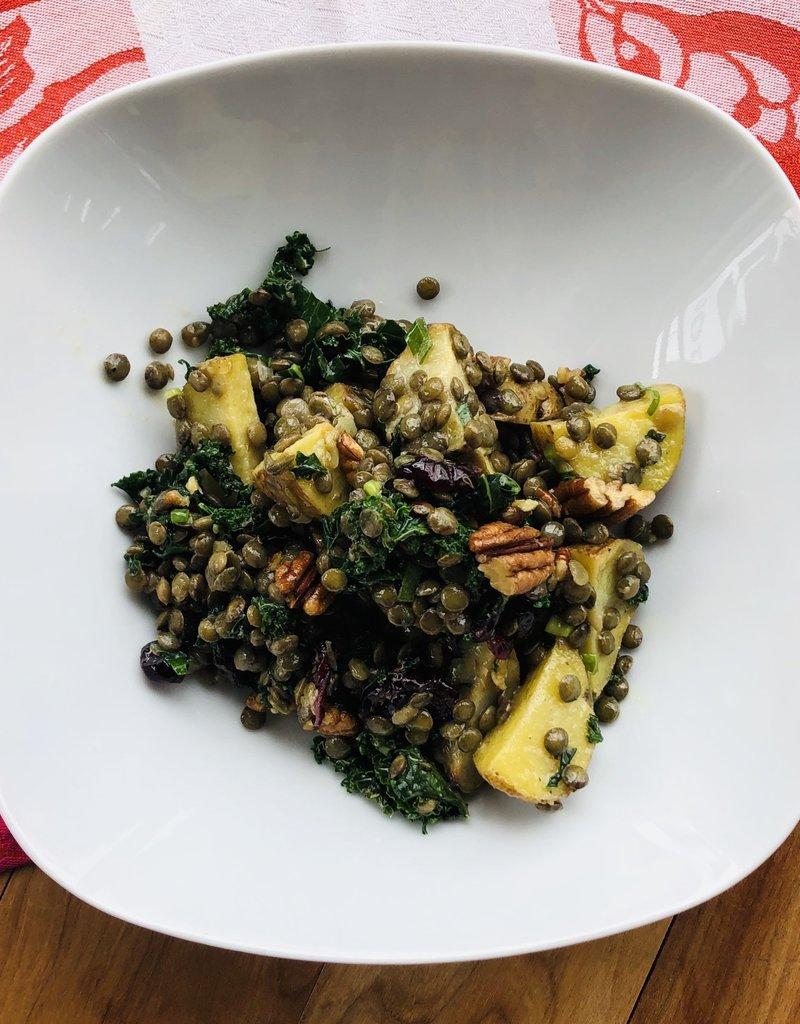 Salade de patate, lentille, kale et sauce moutarde