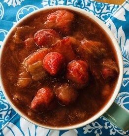 Compote à la rhubarbe, pomme et fraise