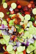 Gaspacho aux tomates, fraises et estragon