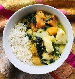 Curry de poisson, épinards et courge