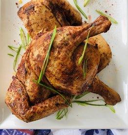 Poulet de Cornouailles cuit en crapaudine