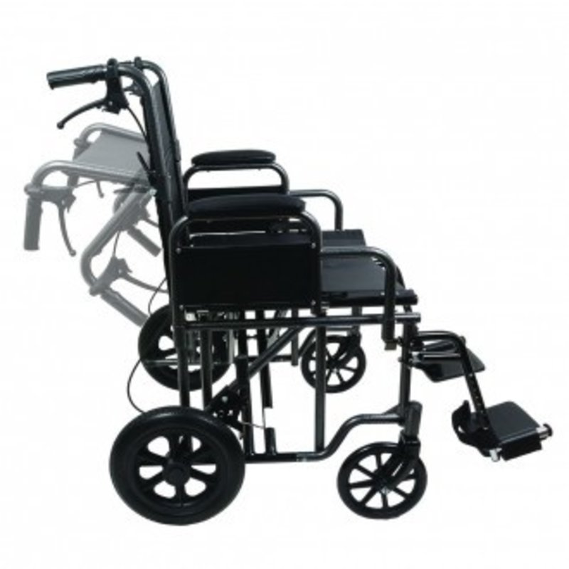 "ProBasics ProBasics 22"" Bariatric Steel Transport Wheelchair, Silver Vein"