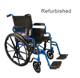 Drive Medical Refurbished Drive Blue Streak Series Wheelchair with cup holder