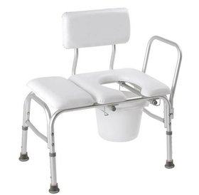 Carex Deluxe Padded Transfer Bench With Commode Opening