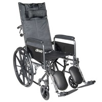 Drive Medical Reclining Wheelchair With Detachable Desk Length Armrests and Swing-Away Elevating Leg Rest