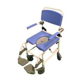 """Refurbished Healthline Ezee Life Rolling Shower Commode Chair (18"""")"""