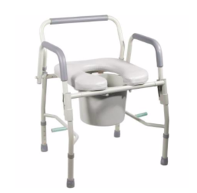 Refurbished Deluxe Commode with Padded Seat - Fixed Arms