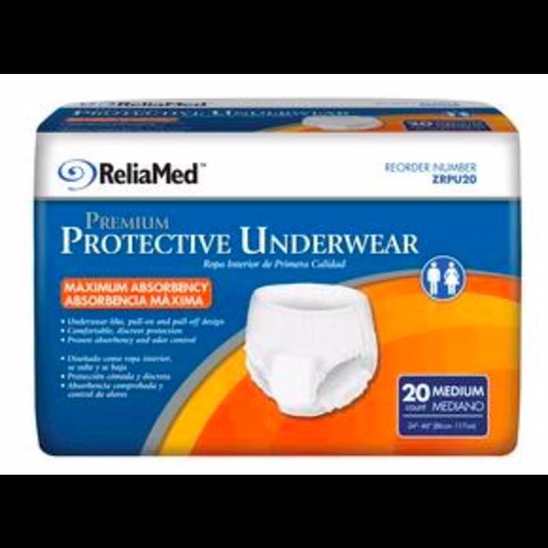 ReliaMed Premium Protective Underwear - Medium 20 Count
