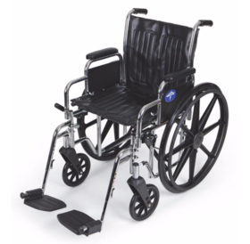 MedLine Excel 2000 Manual Wheelchair with Swing Away Leg Rests 18""
