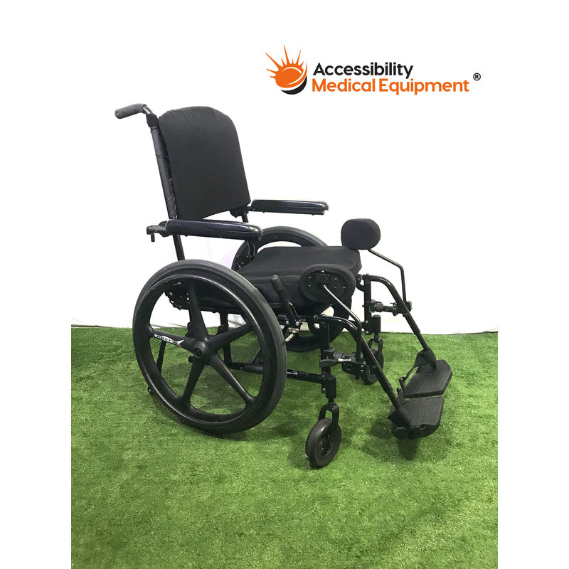 "Refurbished Ki Mobility Catalyst Adjustable Back 20"" Folding Manual Wheelchair with Swing Away Leg Rests"