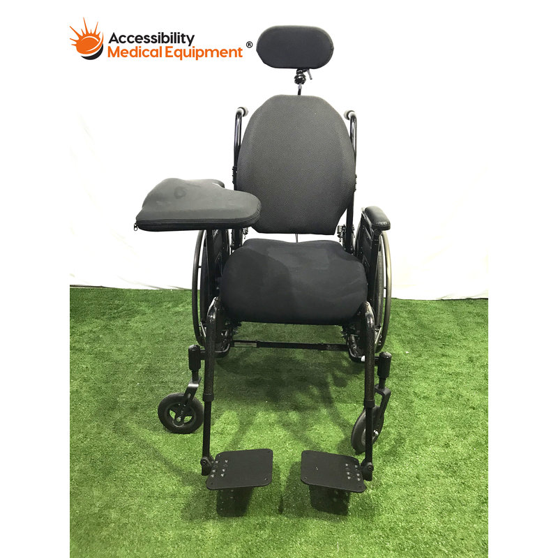 "Refurbished Invacare Solara 3G Tilt in Space 20"" Wheelchair with padded attachments"
