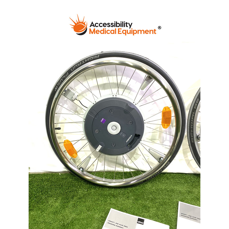 EMotion battery operated Alber system wheelchair wheels with control and charger