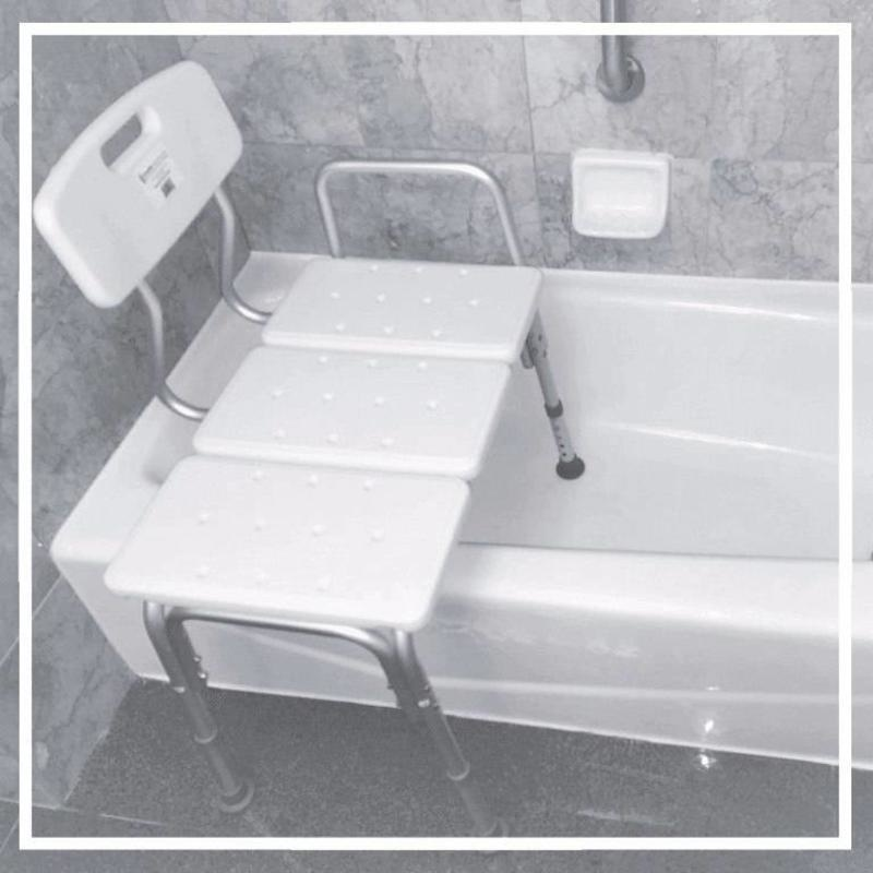 Transfer Bath Bench shown positioned over edge of tub