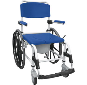"""Drive Medical Drive Medical Rehab Shower Commode Mobile Chair Aluminum, 24"""" Rear Wheels"""