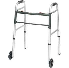 "PMI PMI ProBasics™ Two-Button Folding Aluminum Walker, with 5"" Wheels, Junior, 300 lb Capacity"
