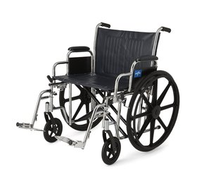 """Medline Medline 24"""" Bariatric Excel Wheelchair with Removable Desk-Length Arms and Swing-Away Footrests"""