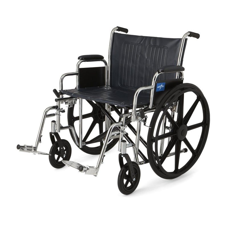 "Medline Medline 24"" Bariatric Excel Wheelchair with Removable Desk-Length Arms and Swing-Away Footrests"