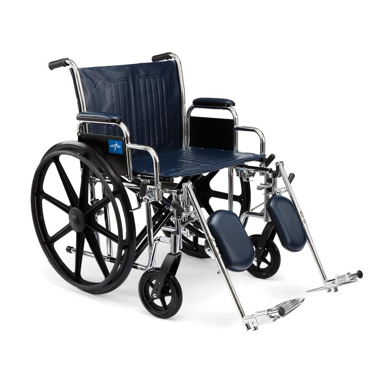 """Medline Medline 24"""" Bariatric Excel Wheelchair with Removable Desk-Length Arms and Elevating Legrests"""