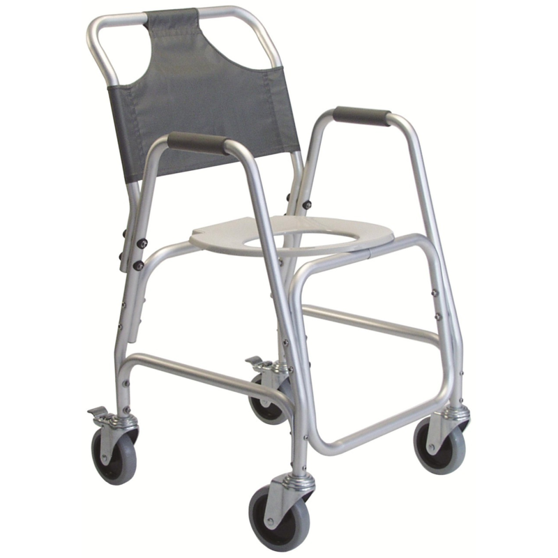 Refurbished Rolling Shower Chair with Commode Opening