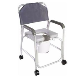 Bariatric Commode Shower Chair, Aluminum, with Back, Locking Caster, 10qt Capacity Bucket, 375 lb Capacity, 21''