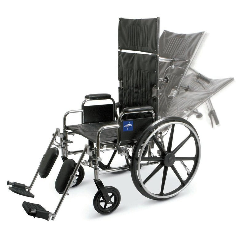 Medline Medline Excel Reclining Wheelchair with Removable Desk-Length Arms and Elevating Leg Rests