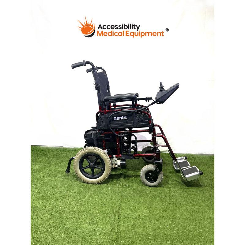 "Refurbished Merits folding portable power chair 18"" - brand new batteries"