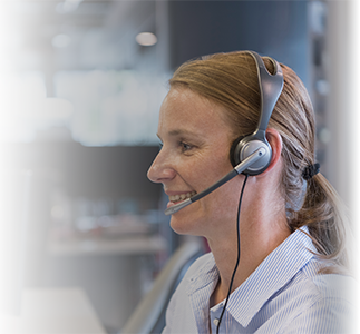 Customer service rep using telephone headset