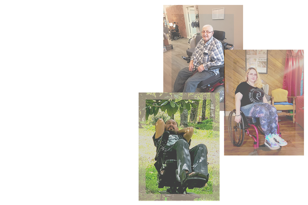 Three customers pictured in newly purchased wheelchairs