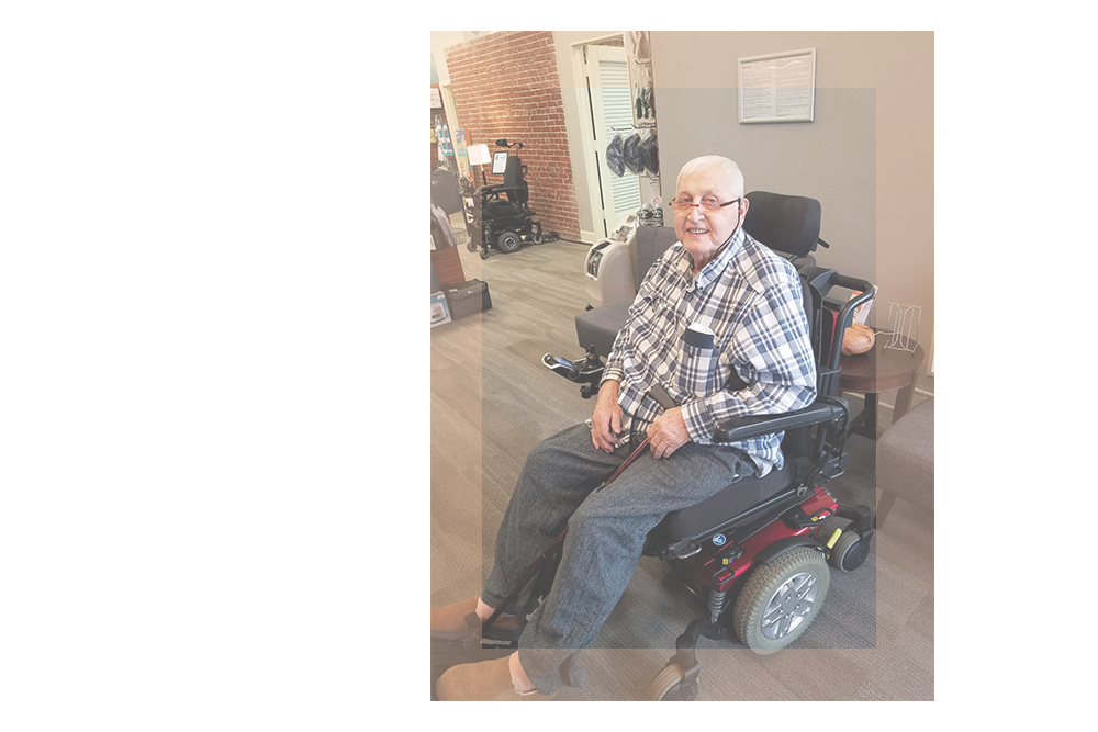 Person Seated In Newly Purchased Power Wheelchair