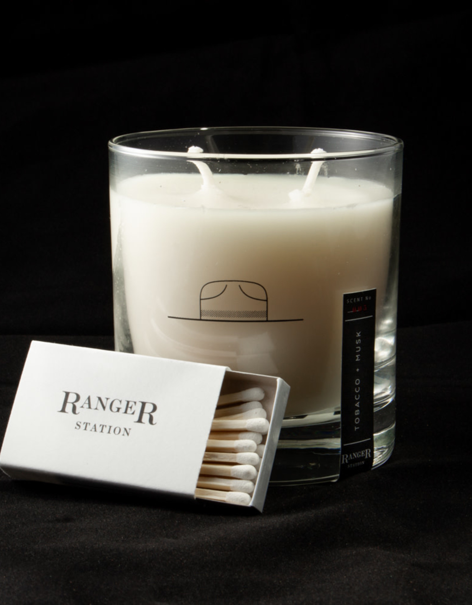 Ranger Station Tobacco + Musk Rocks Glass Candle