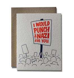 Ladyfingers Letterpress Punch A Nazi Card