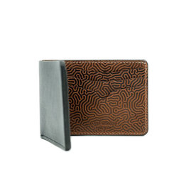Leather Works Minnesota No. 9 Bifold Wallet Blk & Coral Tan