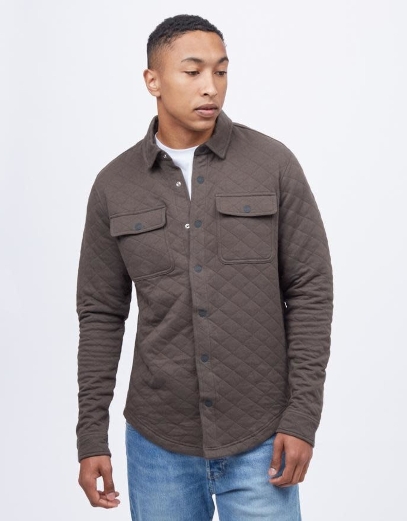 tentree Colville Quilted Shirt - Black Olive
