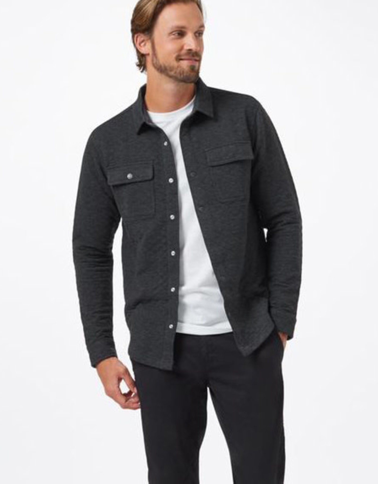 tentree Colville Quilted Shirt - Black
