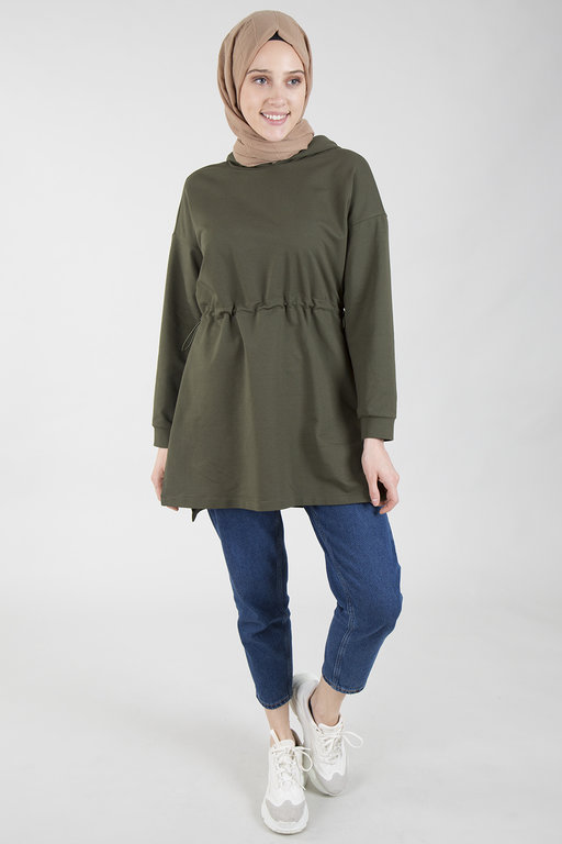 Hot Fashion Belden sıkmalı kapsonlu sweatshirt