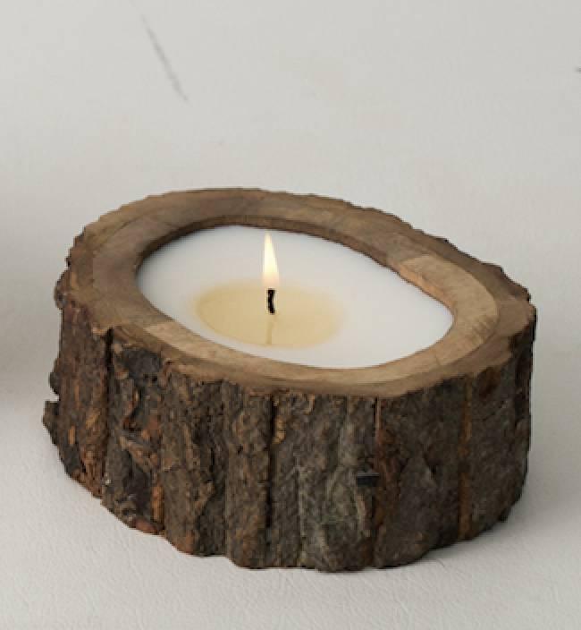 Irregular Tree Bark Candle - Small