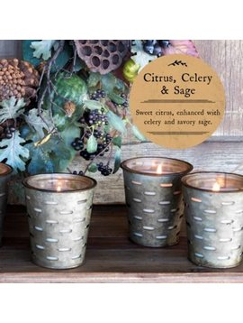 Citrus Celery and Sage Olive Bucket Candle