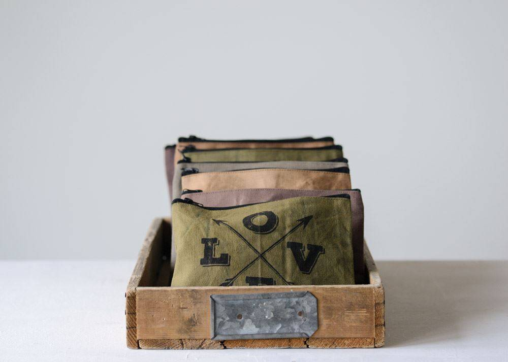 Distressed Canvas Zip Pouch
