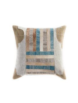 Cowhide Pillow with Turquoise Accents
