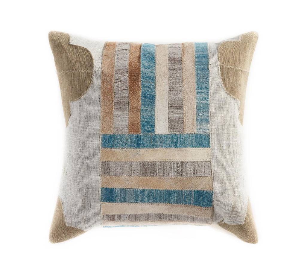 Cow Hide Pillow with Turquoise Accents
