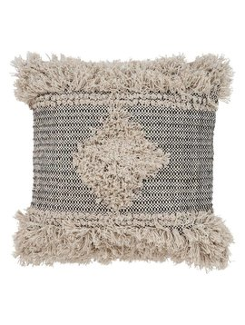 Diamond Fringe Pillow Natural/Black 20x20