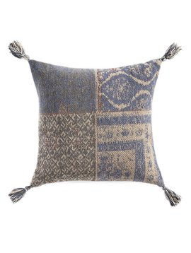 Patchwork Pillow Blue w/ Tassel