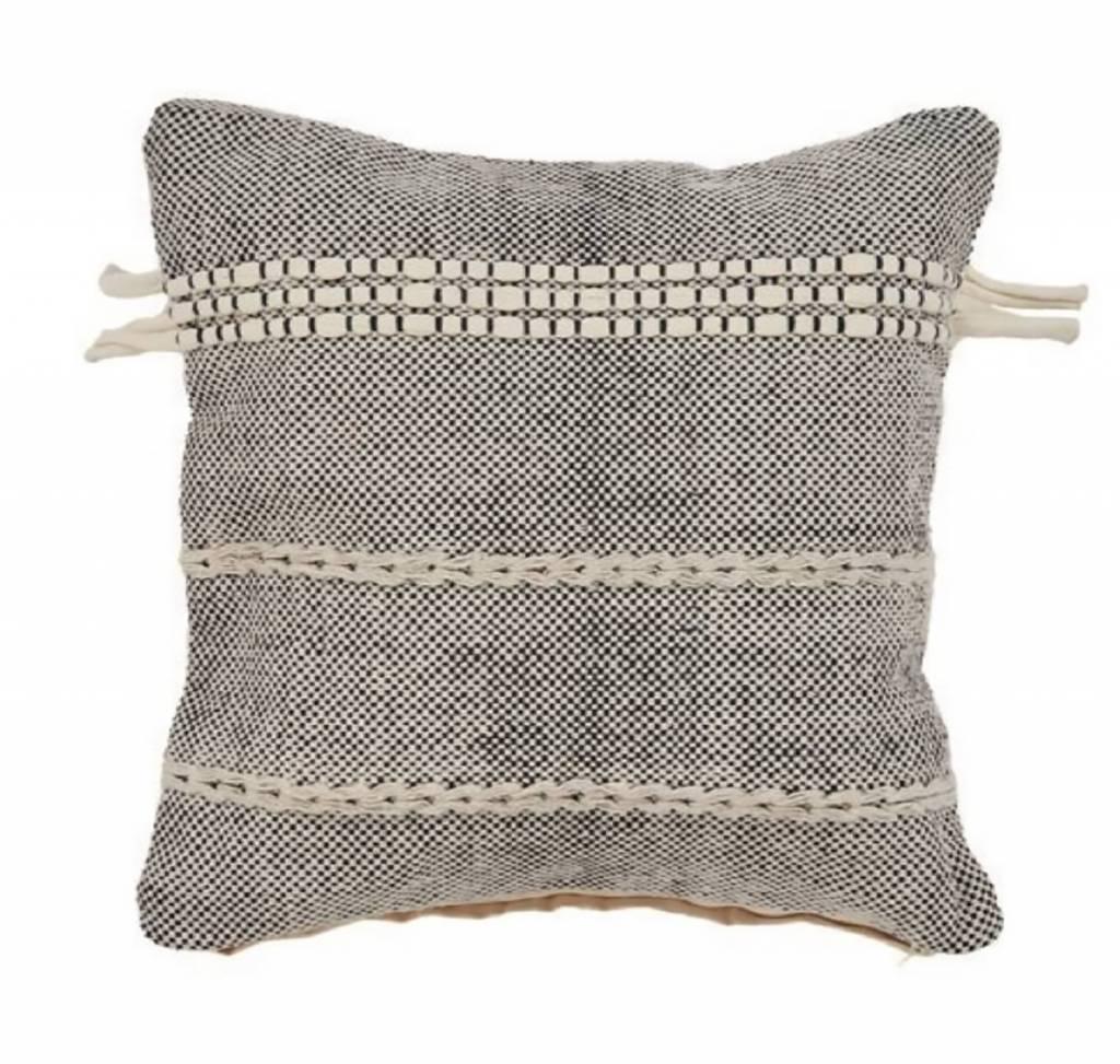 Dual Stripe Braided Pillow Natural/Black 20x20