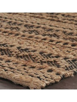 Looped Braid Jute Woven Rug Jet Black