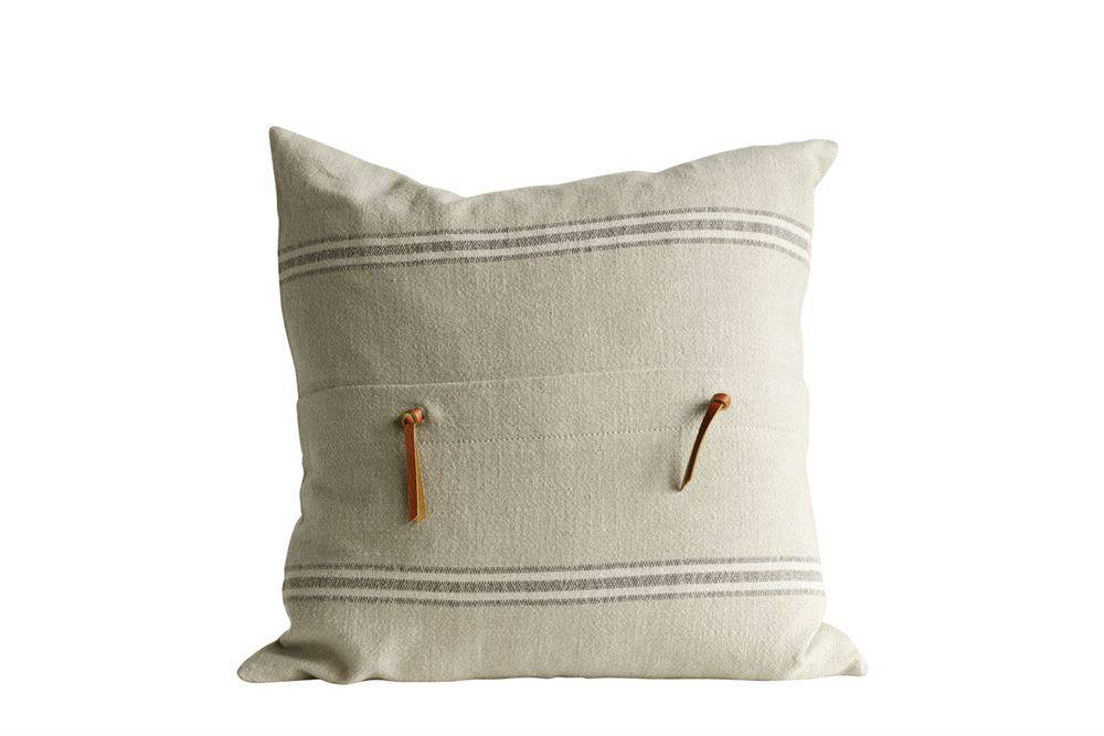 Square Cotton Pillow w/ Stripe and Leather Tie