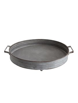 Round Decorative Metal Tray with Handles