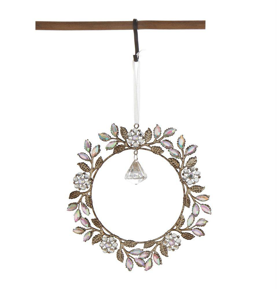 Metal & Acrylic Jewel Wreath Ornament