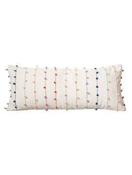 Cotton Pillow w/ Multi color Embroidery Loop